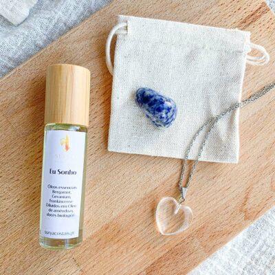 kit oleo essencial eu sonho sodalite e quartzo cristal surya cristais