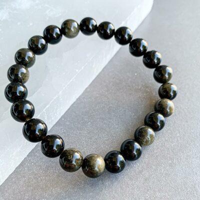pulseira obsidiana negra surya cristais