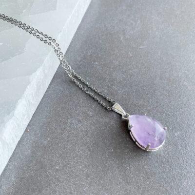 colar de ametista banhado a prata surya cristais